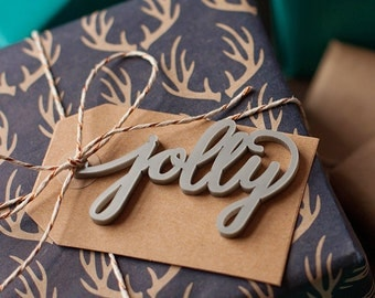 "Christmas Gift Tags, Calligraphy hand lettered holiday gift tag ""Jolly"" set of 2 holiday gift wrap"