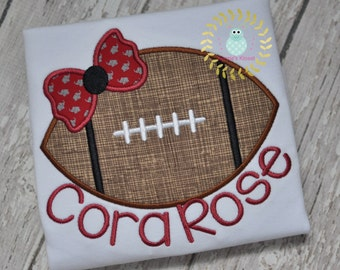 Football appliqué shirt - Football with bow shirts - Football embroidery - Sports -  Team - toddler - babies - Baby 12 mo 2t 3t 4t 5t 6t
