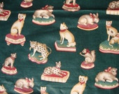Vintage Animal Fabric Cotton Novelty Print Dogs Cats Rabbits Squirrels Leopards 1.5 Yards