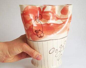 finger vase, tulip vase, flower vase, porcelain vase, handmade vase, divided vase, flower brick, vase, black and white vase, pottery vase