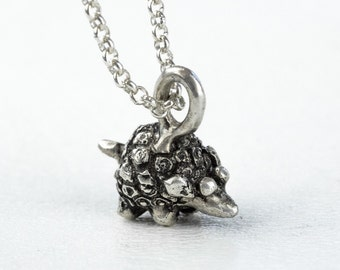 Hedgehog Silver Necklace Hedgehog Sterling Woodland Pendant Dogwood Flower