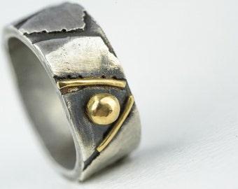 Mens Wedding Band 18kt Gold Sterling Silver Pebble Band