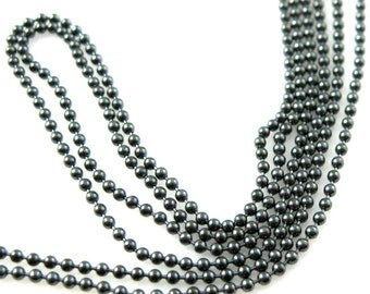 Oxidized Sterling Silver Chain -Sterling Silver Bulk Chain ,Ball Chain ,Beaded Chain,Beading Chain - 1.2mm ( All Sizes ) SKU: 101050-OX