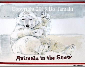 Polar Bear in the Snow 5 x 7 archival print greeting card