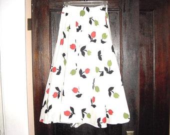 Vintage 50s Spring Tulip Print Full Skirt 27 Handmade Cotton