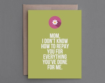 """Clearance Sale Item. Funny Mother's Day Card. Humor, Humorous, Unusual. For Mom. """"MD Call It Even"""" (CSM03)"""