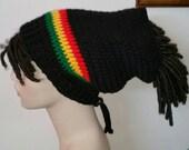 Dread Sock Tam Dread Tube in Black and Rasta Stripes