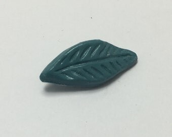 Long Leaf - Dusty Blue - Hand Made Clay Button