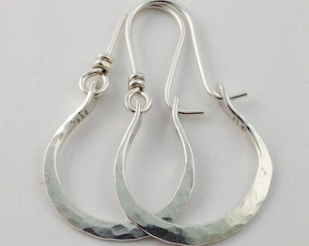 Petite Gabriela Hammered Sterling Silver Earrings Hoops