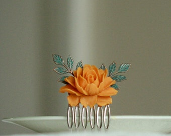 Orange and green flower hair comb -  Made to order -