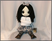 OOAK Hand Stitched Psycho Sitting Rag Doll Creepy Gothic Folk Art By Jodi Cain Tattered Rags