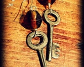 African Trade Bead and Key Earrings
