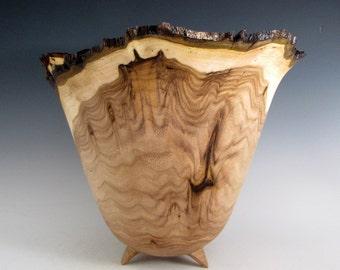 Wood Bowl - Natural Bark Edge Butternut Wood Turned Bowl - Wedding Gift - Birthday Gift - HousewarmingGift