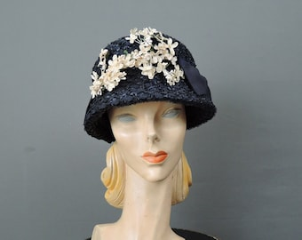 Vintage 1960s Straw Hat Navy Cloche Style with Flowers and Bows, fits 22 inch head