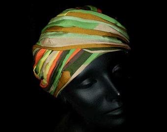 Vintage 50s Striped Grosgrain Turban Hat