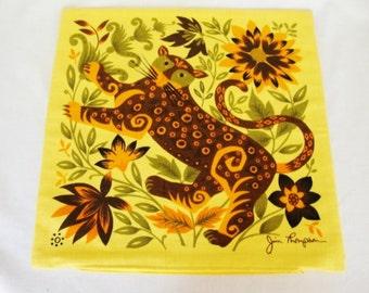 vintage jim thompson jaguar cheetah leopard pillow cover spotted cat