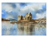 Watercolor CASTLE painting, original watercolour landscape, Scottish castle