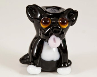 Black French Bull Dog Lampwork Bead