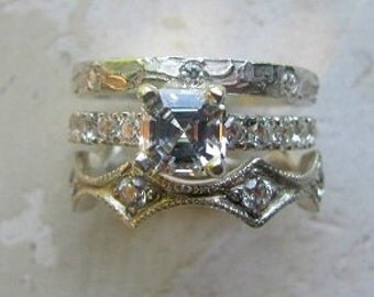 Sterling Silver and Cubic Zirconian Stack Wedding or Casual Ring Set