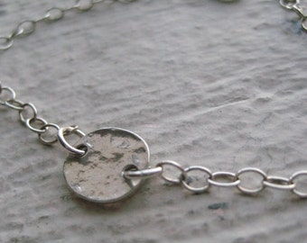 Hammered Oval Link Bracelet, Sterling Silver, Simple, Gift, Everyday, Chain, Links