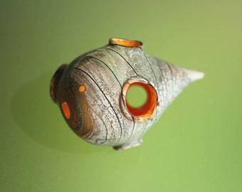Organic Whosit - Handmade Lampwork Hollow Bead SRA