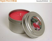 MOVING SALE Strawberry Fields Scented Soy Candle, Summer,  Red, Strawberry, Fresh, 4 oz Travel Tin, Hemp wick