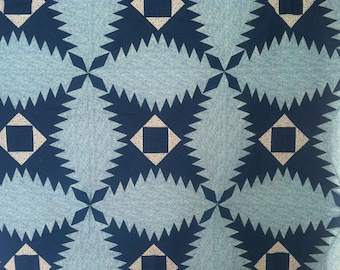 Blue and White Pine Burr Quilt Top