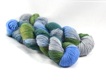 Yosemite - Silver Shiny - Hand painted sparkle yarn - yarn with sparkles