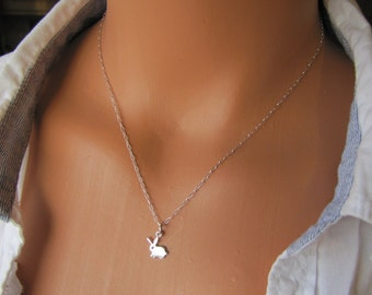 Tiny Bunny Rabbit Charm Necklace, Rabbit Necklace, Bunny Jewelry, Sterling Silver