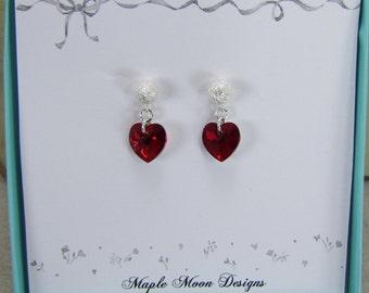 Red Crystal Heart Earrings,  Sterling Silver Stardust Earrings