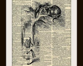 Alice in Wondarland Dictionary Art Print Cheshire Cat