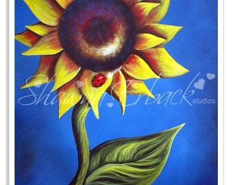 sunflower decor, sunflower art, flower picture, sunflower art print, signed print, art prints, summer, flowers, ladybug, whimsical artwork