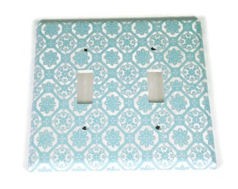 Double Light Blue Switchplate Light Switch Cover in  Royal Family (256D)