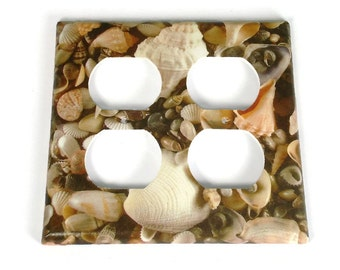 Double Outlet Light Switch Cover  Wall Decor Switchplate Switch Plate in  SeaShell (248DO)