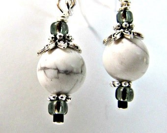 White Howlite Earrings, Beaded Earrings, Dangle Earrings, Gemstone Earrings, Sterling Silver or Stainless Steel Earwires,  Accessories #1192