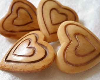 Set of 4 VINTAGE Large Realistic Tan Heart Shape with Carved Hearts BUTTONS