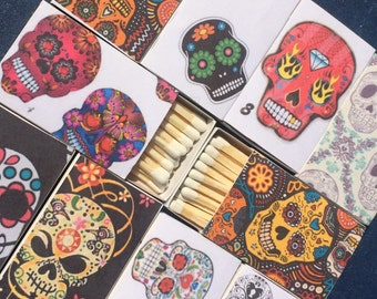 10 Sugar Skull Matchboxes - Party Wedding Favors Day of the Dead Día de los Muertos