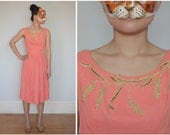 Lovely Sleeveless Vintage 50's/60's Cocktail Party Dress in Coral Pink with Golden Beaded Floral Neckline by Sa'bett of California | Small