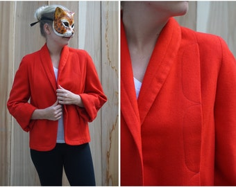 Vintage Short Red Scallop Swing Jacket | Small Medium