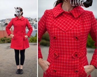 Vibrant Vintage 60's Red Plaid Fitted Doublebreasted Belted Peacoat | Small Medium