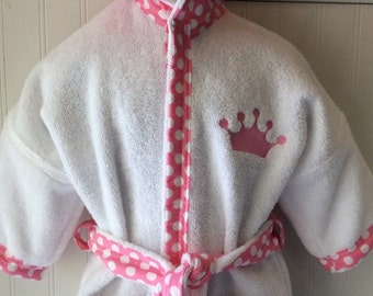 Girls-Bath-Robes-Girl-Robe-Pink-Royal-Princess-Crown-Tiara-Bathrobes-Childrens-Beach-Hooded-Swimwear-Terry-Cover Up-Baby-Toddler-Kids-Gift