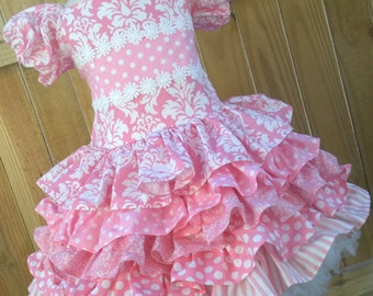Ready to Ship Custom Pink Damask Spring Girl Ruffled  Dress Will Fit Sizes 4 or 5