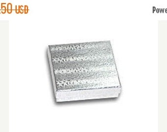 Valentines Day Sale 50 Pack Silver Foil 3.5 X 3.5 X 1 Inch  Size Cotton Filled Jewelry Presentation Gift Boxes