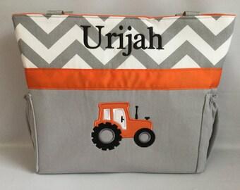 TRACTOR  ...  ORANGE .. Chevron   .. DIAPER Bag .. Applique   ... Bottle Pockets ..  Personalized Free