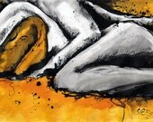 Ink drawing on canvas A4 - sexy abstact art - cuddling couple- black bright yellow
