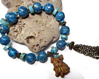 Turquoise Yorkie Dog Bracelet- Stone Bracelet- polymer clay Bracelet- Tassel Bracelet- Blue Boho Bracelet- Wrap Bracelet