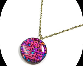 Mosaic Necklace- Polymer Clay Jewelry- Gypsy Necklace- Polymer Clay Pendant- Gifts for Her- Ready to Ship