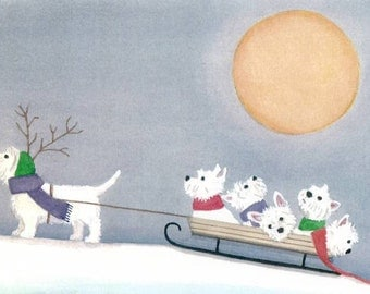 West highland terrier (westie) family takes holiday sled ride / Lynch signed folk art print
