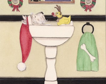 West highland terrier (westie) fills sink at Christmastime / Lynch signed folk art print