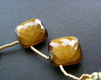 Large Tigers Eye Faceted Cushions - Pair - 20x20mm